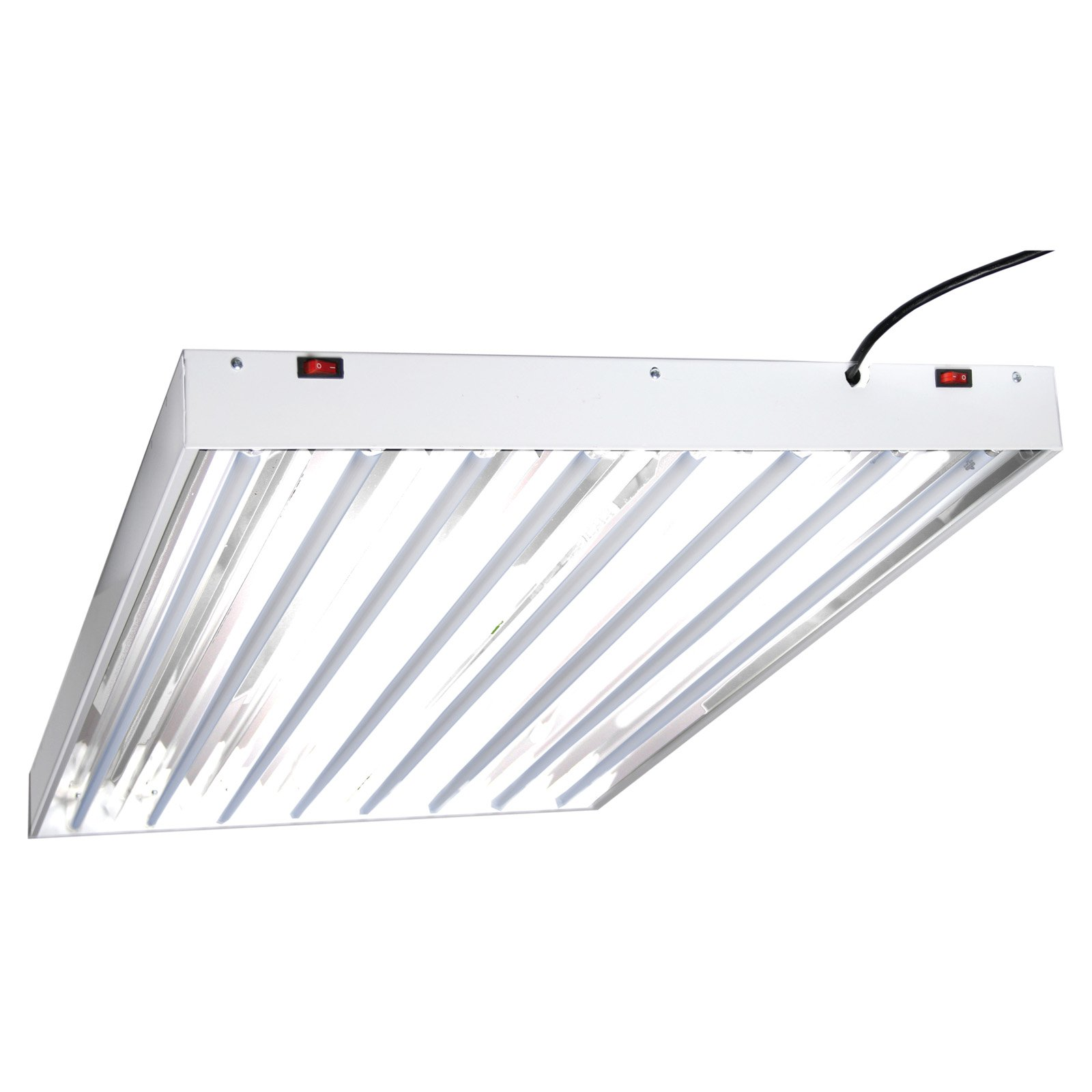 Hydrofarm Designer T5 System 4 Foot 8 Tube Fluorescent Grow Lights with Bulbs