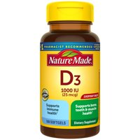 Nature Made Vitamin D3 1000 IU (25mcg) Softgels, 2X100 Count Twin Pack for Bone Health