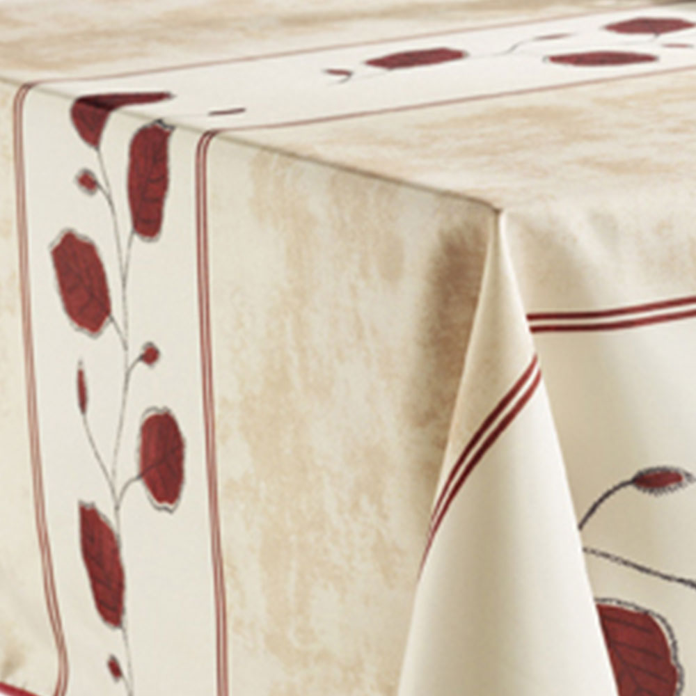 Tablecloth Beige Red Leaf, Stain Resistant, Washable, Liquid Spills Bead  Up, 60