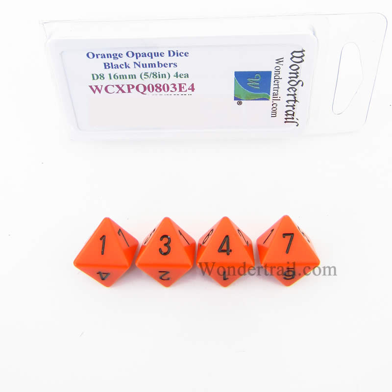 Orange Opaque Dice with Black Numbers D8 Aprox 16mm (5/8in) Pack of 4 Wondertrail