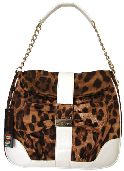 Ed Hardy Carlotta Hobo White Leopard Shoulder Bag