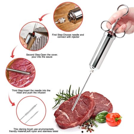Freedo Meat Injector Syringe Marinade Flavor Barrel 304 Stainless Steel with 3 Professional Needles - image 6 de 9