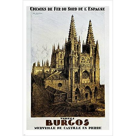 Spanish Railways Burgos Vintage Travel Poster Cathedrals Prized Rare 24X36 (Rare Railroad)
