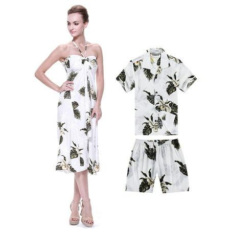 53844b2ef Hawaii Hangover - Matching Mother Son Hawaiian Luau Outfit Dress Shirt in  Palm Green in White Women S Boy 14 - Walmart.com