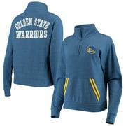 Golden State Warriors New Era Women's Striped Trim Tri-Blend Half-Zip Pullover Jacket - Royal
