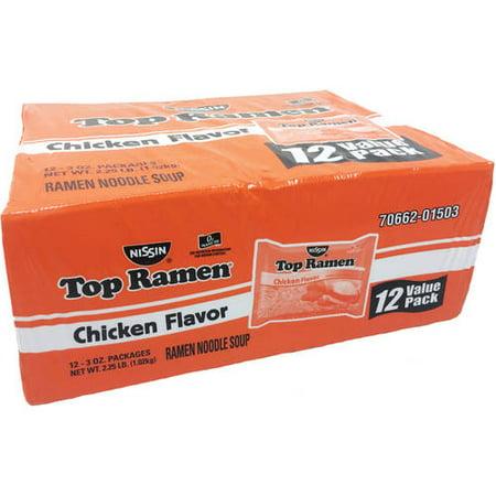 (4 Pack) Nissin Top Ramen Chicken Flavor Ramen Noodle Soup, 3 oz, 12