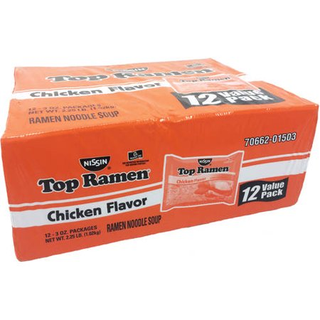 (4 Pack) Nissin Top Ramen Chicken Flavor Ramen Noodle Soup, 3 oz, 12 count