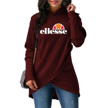 Women's Ellesse Print Irregular Bag Hip Slim Autumn (Split Print Sweater)