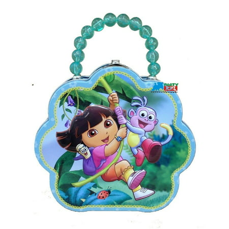 Dora the Explorer Tin Box Carry All Flower Shaped Purse - Blue