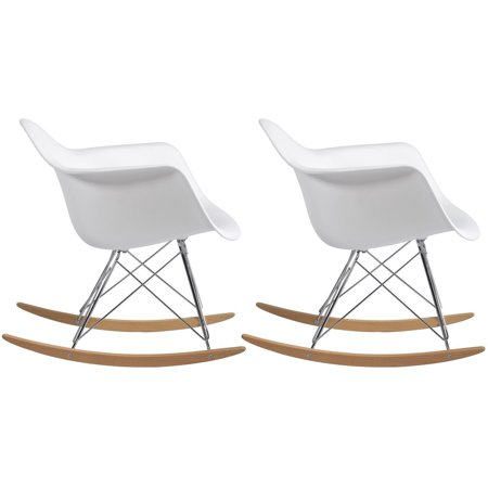 - 2xhome - Set of 2 White - Molded Modern Plastic Armchair - Contemporary Accent Retro Rocker Chrome Steel Eiffel Base - Ash Wood Rockers - Rocking Style Lounge Cradle Arm Chair