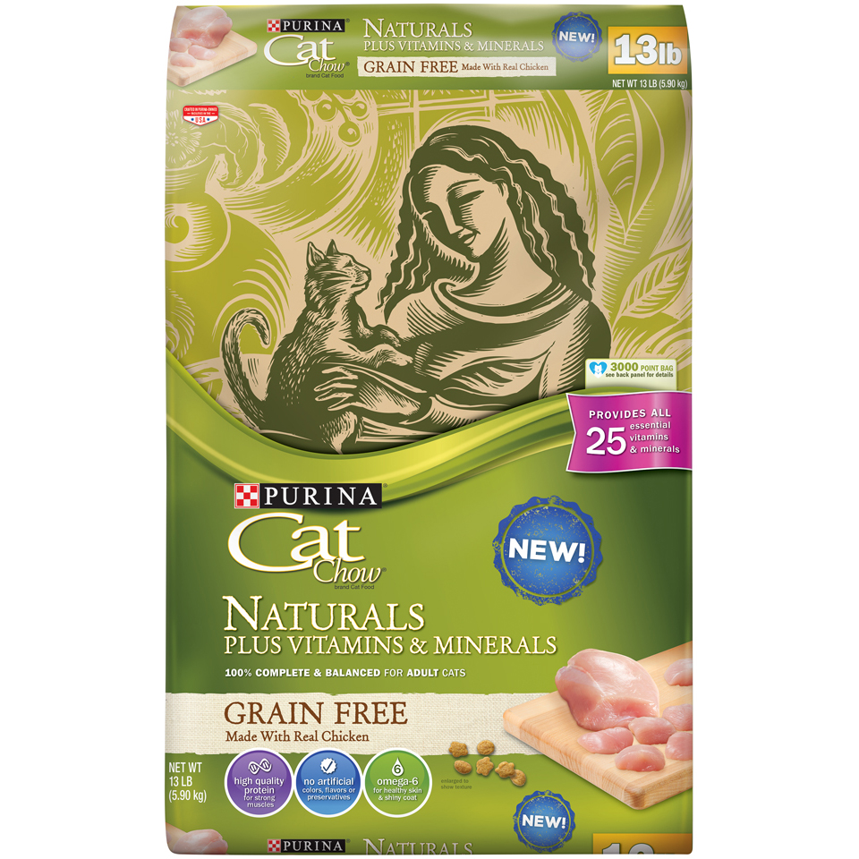 Cat Chow Naturals Grain-Free Plus Vitamins & Minerals With Real Chicken Adult Dry Cat Food, 13 lb