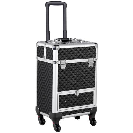Topeakmart Aluminum Cosmetic Case Lockable Travel Makeup Train Case 21.9