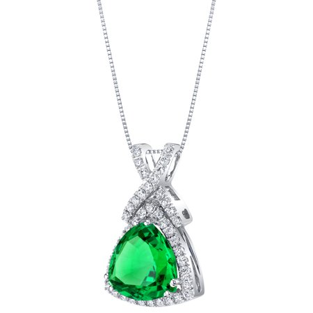 Trillion Lab (14K White Gold Created Colombian Emerald and Lab Grown Diamond Pendant 4.77 carats total Trillion Cut)
