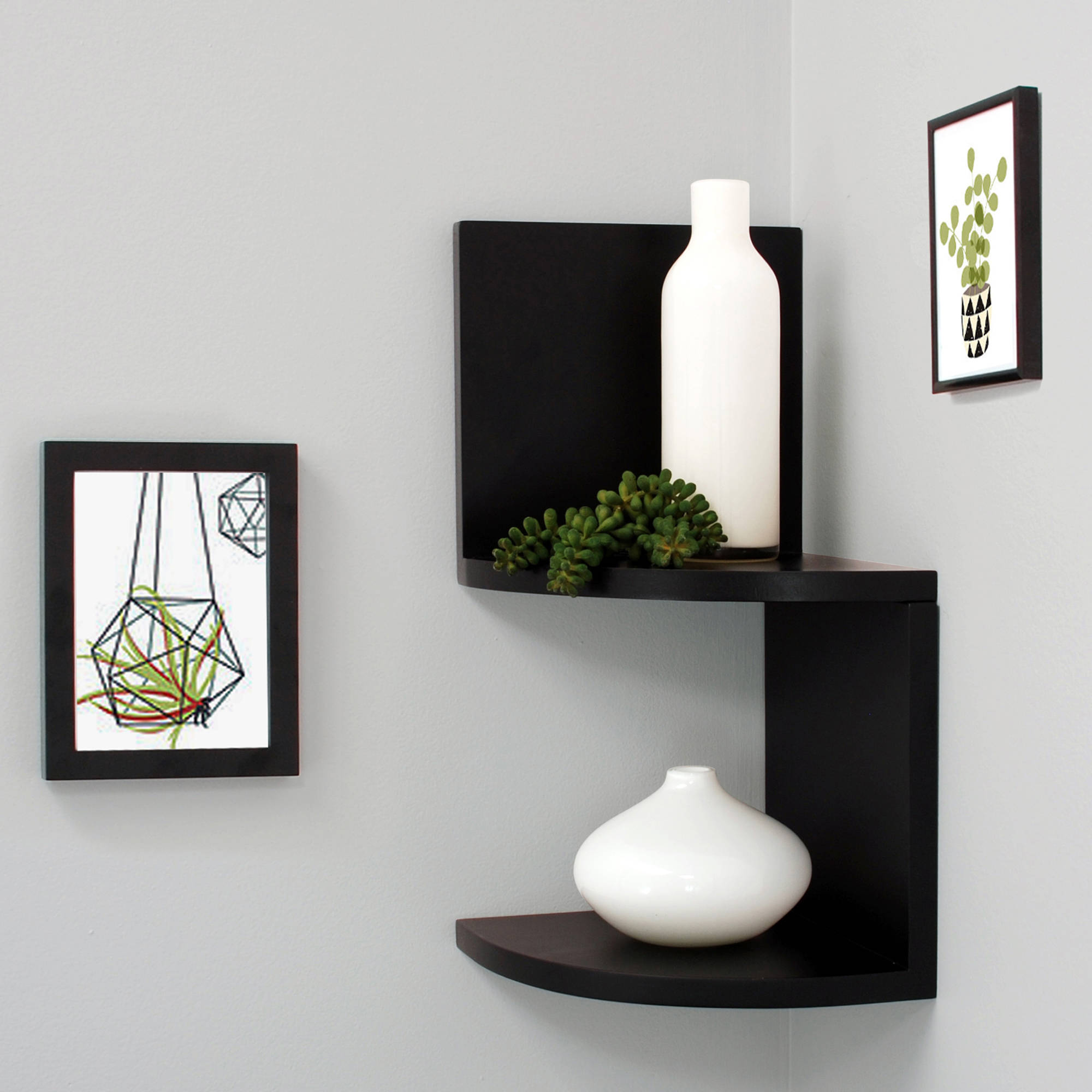 "Kiera Grace Priva 7"" Corner Shelves, Black, Set of 2"