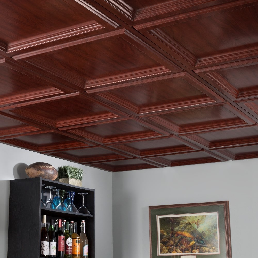 Fasade Classic Coffer Cherry 2-foot Square Lay-in Ceiling Tile Classic Coffer Cherry 2 ft. x 2 ft. LI Tile