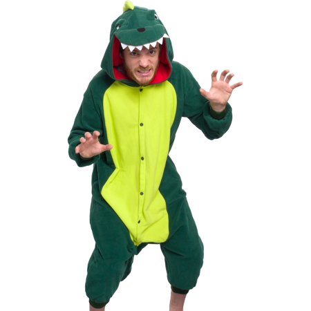 SILVER LILLY Unisex Adult Plush Animal Cosplay Costume Pajamas (Dinosaur) (One Piece Pajama Halloween Costumes)