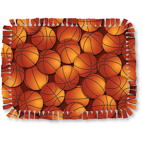 Creative Cuts Microfiber No Sew Throw Fabric Kit, Basketballs