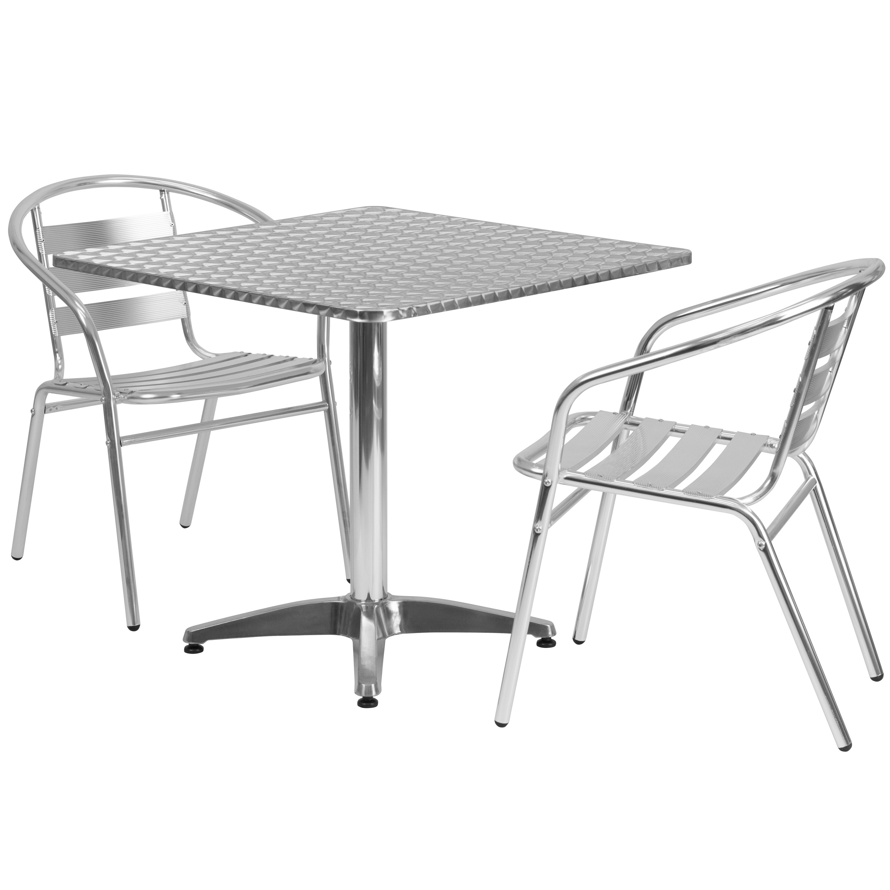 Lancaster Home 31.5-foot Square Aluminum Indoor/ Outdoor Table with 2 Slat Back Chairs