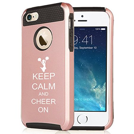 For Apple iPhone SE Rose Gold Shockproof Impact Hard Soft Case Cover Keep Calm And Cheer On Cheerleader (Rose Gold-Black)