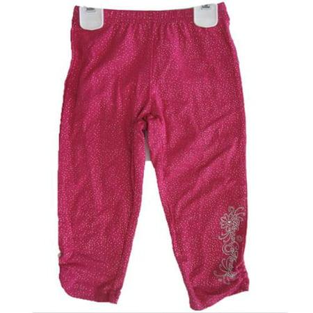 Disney Little Girls Pink Sparkle Hannah Montana Embroidered Capri Pants 4-6X