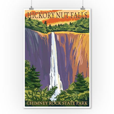 Chimney Rock State Park, NC - Hickory Nut Falls - Lantern Press Poster (9x12 Art Print, Wall Decor Travel Poster) ()