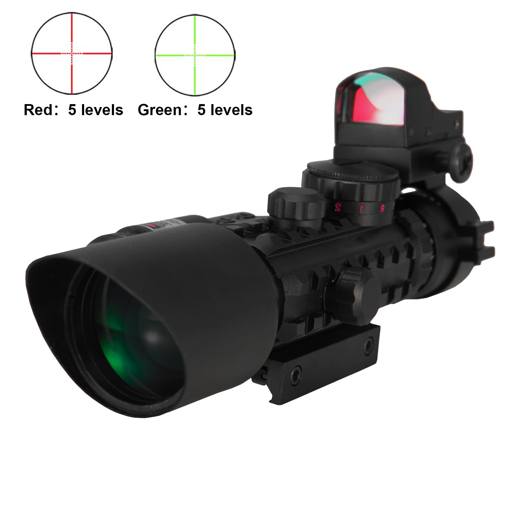 Premium 3-in-1 Combo 3-10x40EG Mil Dot Rangefinder Tactical Riflescope Reticle with Laser Sight and Red Dot Sight... by