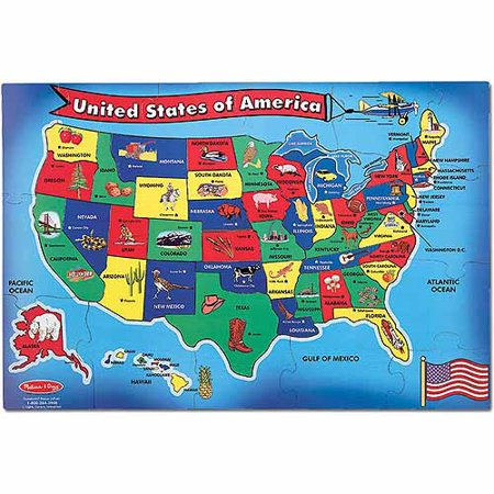 "- Melissa & Doug USA (United States) Map Floor Puzzle (Wipe-Clean Surface, Teaches Geography & Shapes, 51 Pieces, 24"" L x 36"" W)"