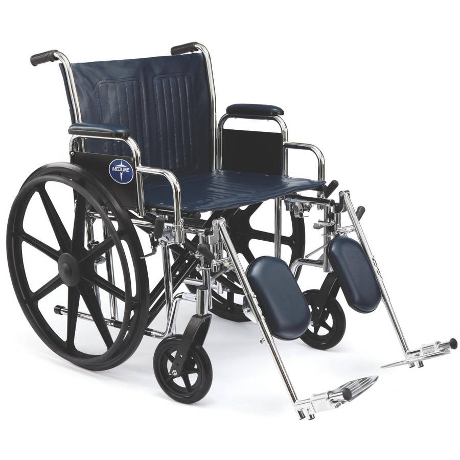 "Medline Excel Extra-Wide Wheelchair, 24"" Wide Seat, Desk-Length Removable Arms, Elevating Leg Rests"