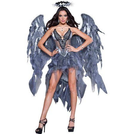 Dark Angel's Desire Dress Women's Adult Halloween - Black Angel Halloween Eye Makeup