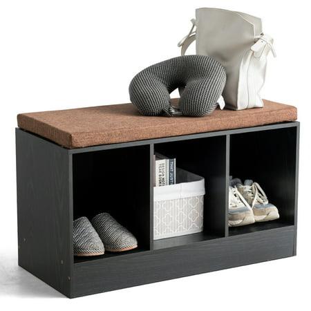 Costway 3-Cube Storage Box Organizer Shoe Bench w/ Padded Cushion Books Toys Decorations Storage Toy Box Bench