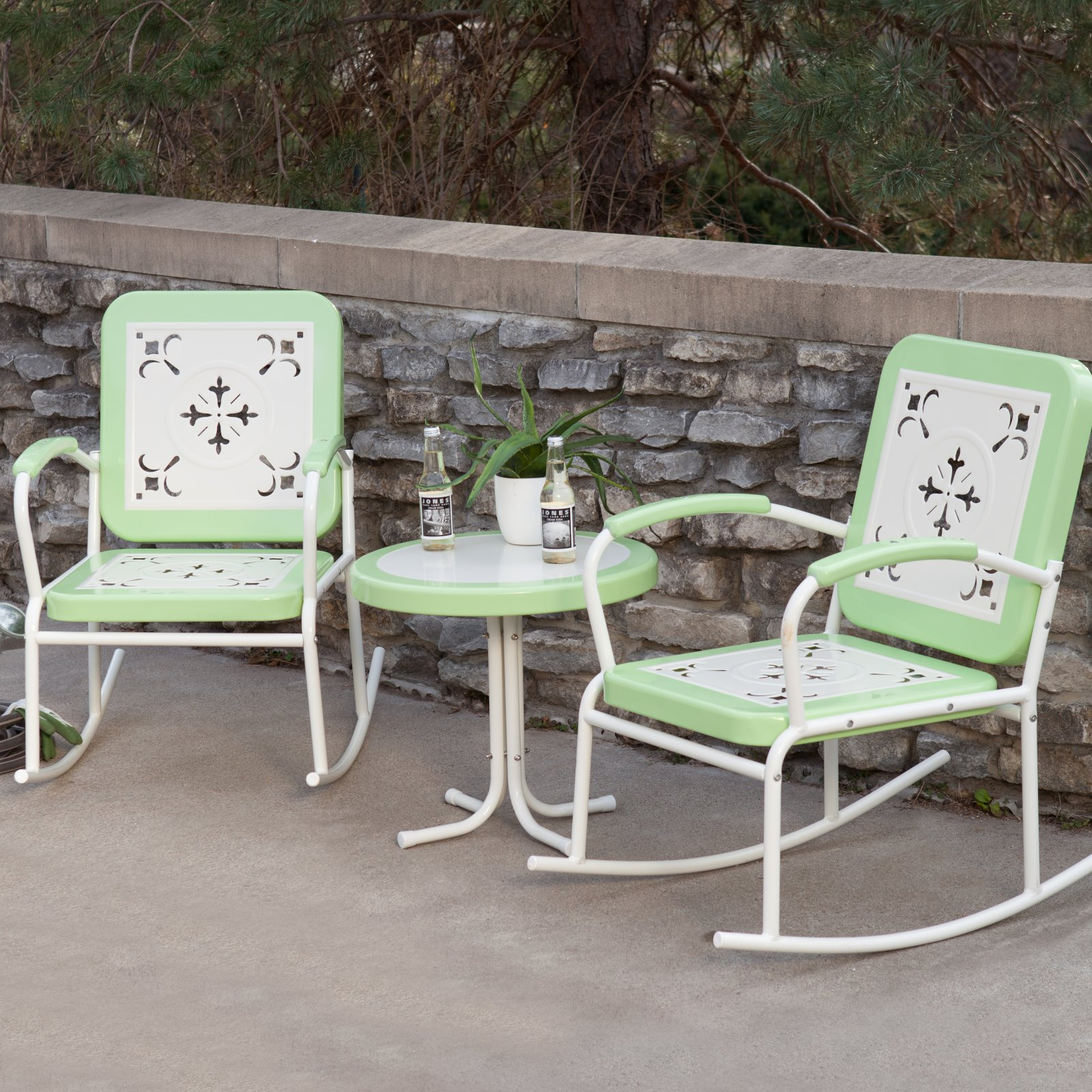 Coral Coast Paradise Cove Retro 3 pc. Metal Rocker Chat Set