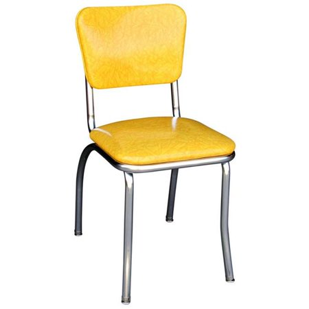 Richardson Seating Corp 4110CIY 4110 Diner Chair -Cracked Ice Yellow- with 1 in. Pulled Seat -  Chrome - Cracked Ice Yellow