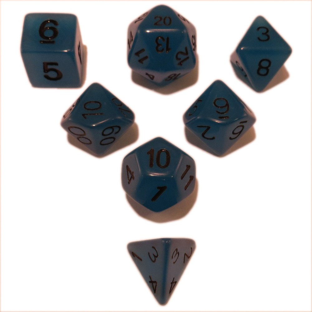 Blue Glow in the Dark - Pack of 7 Polyhedral Dice (7 Die in Set) | Role Playing Game Dice | D4, D6, D8, D10, D%, D12, and D20 -