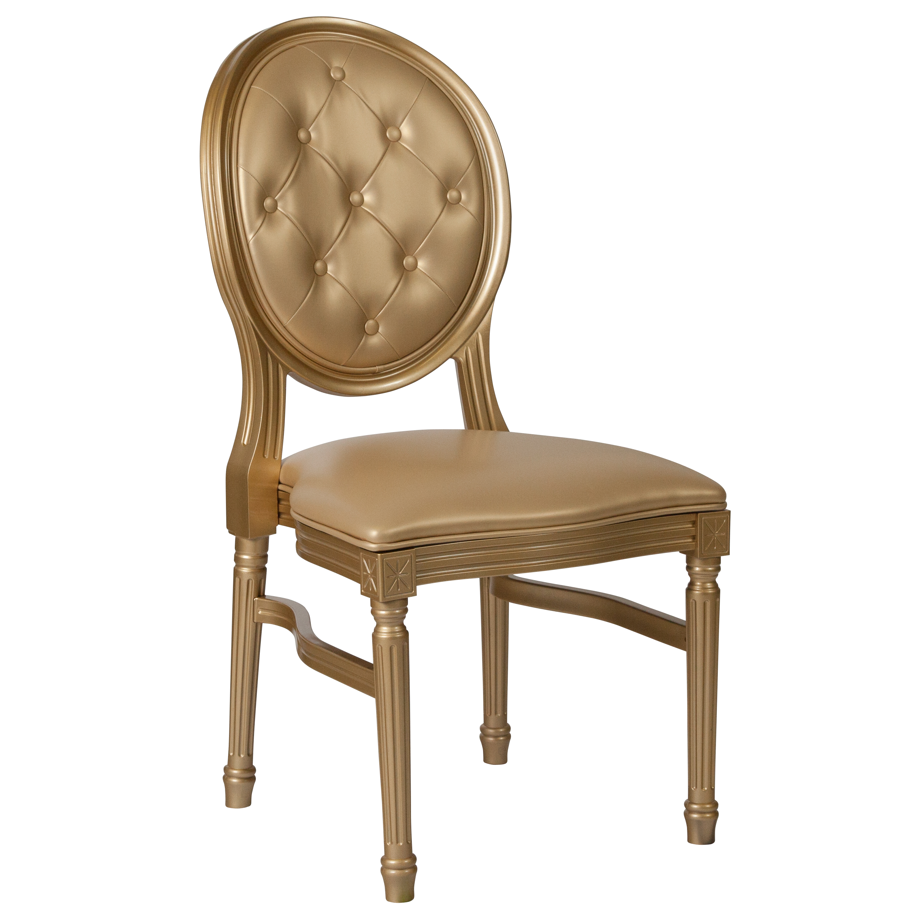 Flash Furniture HERCULES Series 900 lb. Capacity King Louis Chair with Tufted Back, Gold Vinyl Seat and Gold Frame