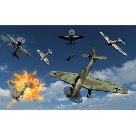- German Ju 87 Stuka dive bombers being attacked by British Royal Air Force Supermarine Spitfires Poster Print