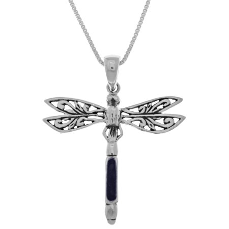 Sterling Silver Fancy Dragonfly Pendant with Blue Paua Shell on 18 Inch Box Chain Necklace