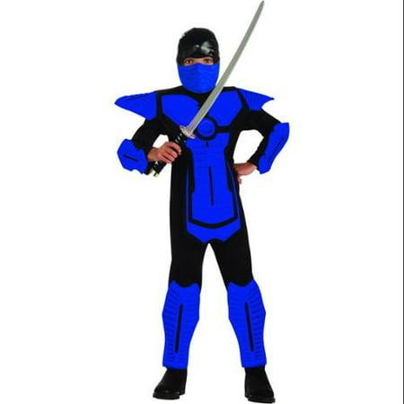 Blue Ninja Molded Armor Jumpsuit Costume Child - Cheap Ninja Costume