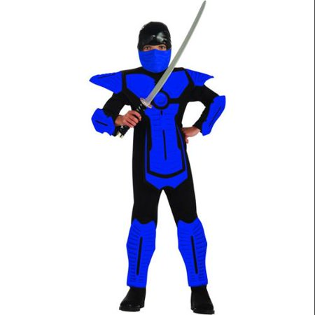 Blue Ninja Molded Armor Jumpsuit Costume Child - Blue Costume Ideas