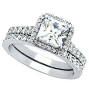 devuggo 180 carat tcw princess cut cz 925 sterling silver wedding rings bridal set - Princess Cut Wedding Rings Sets