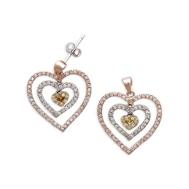CZ EAR1093-TRI C. Z.  Diamond Rose, Yellow, And White Gold Plated Nested Open Heart Earring