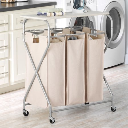 Easy Lift Triple Laundry Sorter with Folding (Sorter Folding)