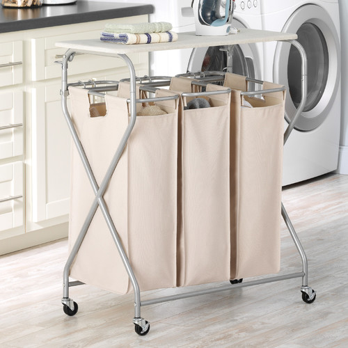 Easy Lift Triple Laundry Sorter with Folding Table