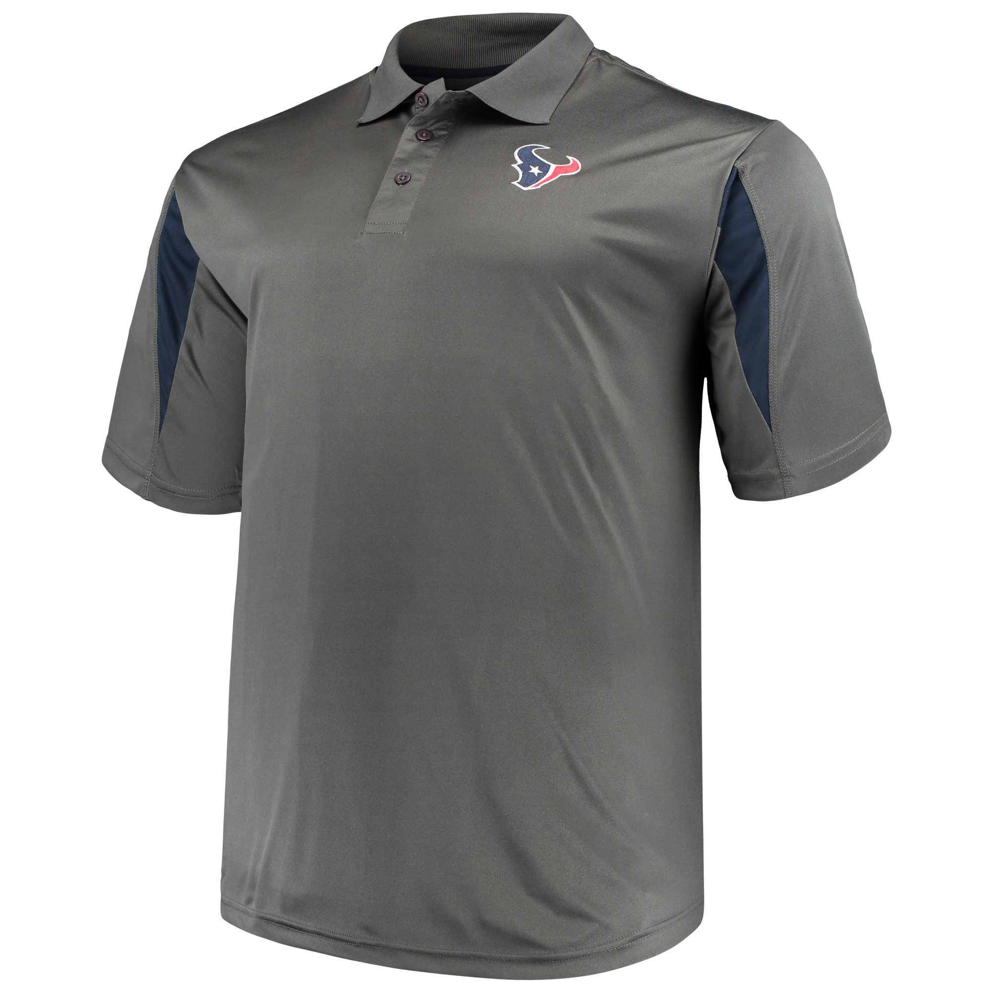 Men's Majestic Charcoal Houston Texans Big & Tall Pieced Polo