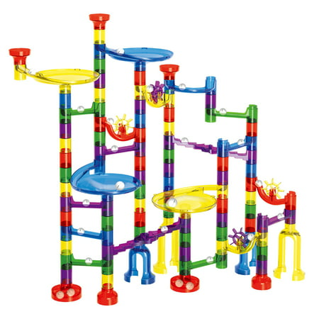 Kids Marble Run Set-154Pcs for Marble Race Track Game, Kids Transparent Plastic Marble Run Coaster Track for STEM, Learning, Education