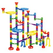 Kids Marble Run Set-154Pcs for Marble Race Track Game, Kids Transparent Plastic Marble Run Coaster Track for STEM, Learning, Education F-252