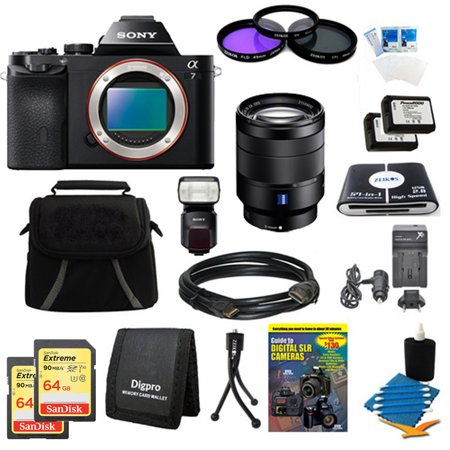 Sony Alpha 7 a7 Digital Camera, 24-70mm Lens, 2 64GB SDXC Cards, 2 Batteries Bundle - Includes 24-70mm Lens, 2x 64GB SDXC Memory Cards, 2x Camera Batteries, 67mm Filter Kit, Carrying Case & More.