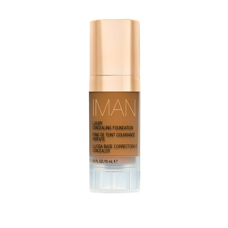 IMAN Cosmetics Luxury Concealing Foundation, Deep Skin, Earth 1, 0.5
