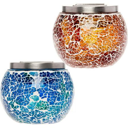 2 Pack GreenLighting Mosaic Decorative Outdoor Solar LED Ball Light ()