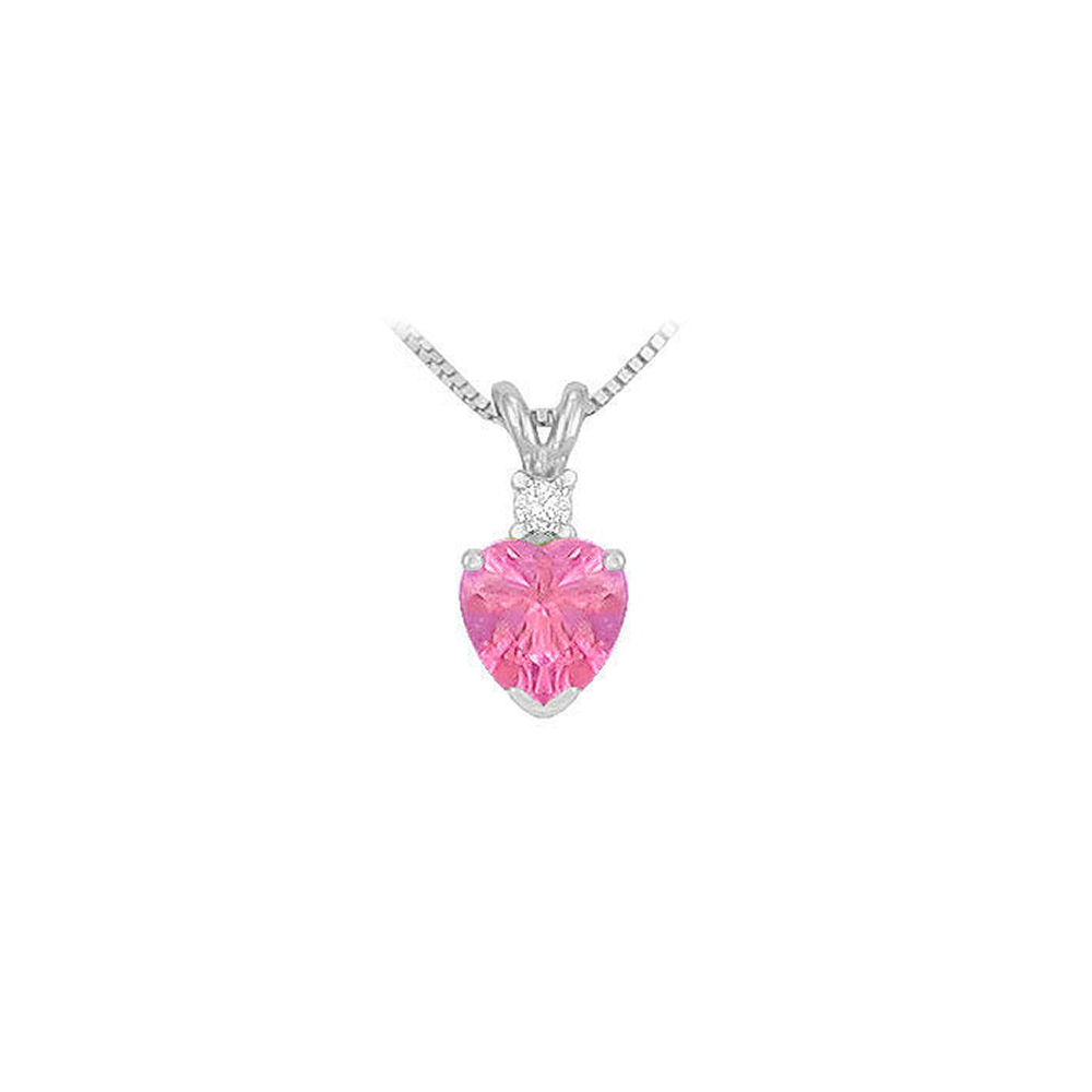 Cubic Zirconia and Created Pink Sapphire Solitaire Pendant 14K White Gold 1.00 CT TGW - image 3 de 3