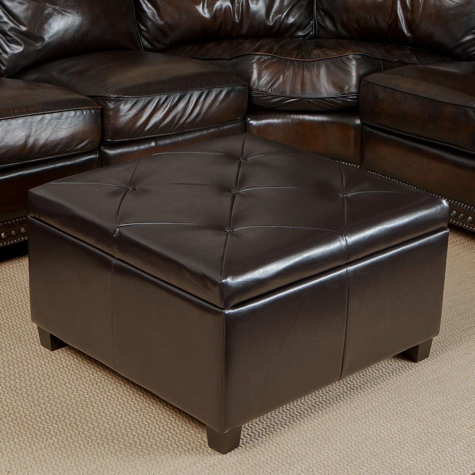Weldon Leather Storage Ottoman   Walmart.com